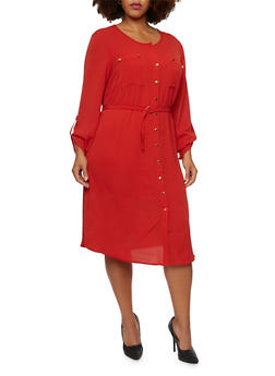 Plus Size Belted Shirt Dress with Cuffed Sleeves - 3390056123063