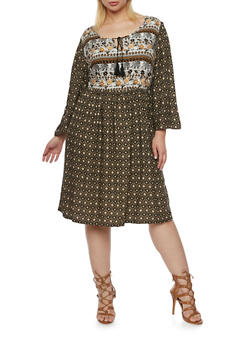 Plus Size Printed Shift Dress - 3390056123071