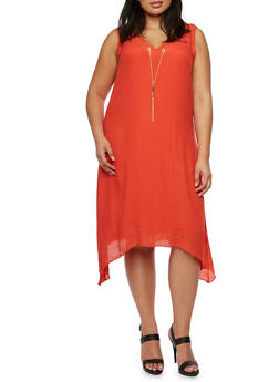 Plus Size V-Neck Dress with Chain and Asymmetrical Hem - 3390056123936