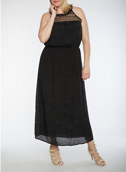 Plus Size Crinkle Knit Maxi Dress with Crochet Trim - 3390056124085