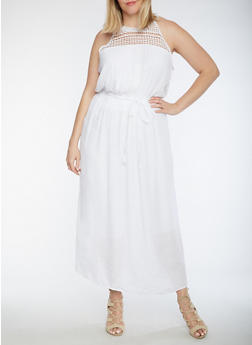 Plus Size Crinkle Knit Maxi Dress with Crochet Trim - WHITE - 3390056124085