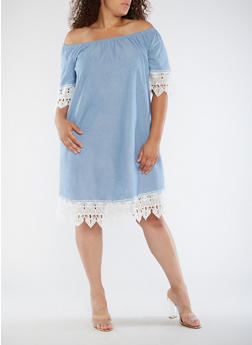 Plus Size Off the Shoulder Chambray Dress - 3390056124107