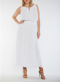 Plus Size Belted Gauzy Dress with Chain Link Trim - WHITE - 3390056124216