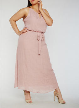 Plus Size Belted Gauzy Dress with Chain Link Trim - 3390056124216