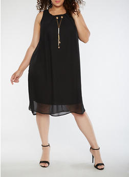 Plus Size Chiffon Shift Dress with Necklace - BLACK - 3390056124222