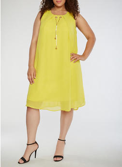 Plus Size Chiffon Shift Dress with Necklace - 3390056124222