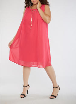 Plus Size Chiffon Shift Dress with Necklace - 3390056124222