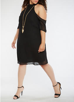 Plus Size Cold Shoulder Solid Dress - BLACK - 3390056124223