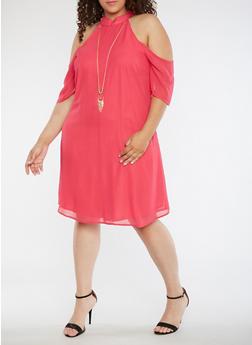 Plus Size Cold Shoulder Solid Dress - 3390056124223
