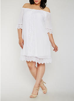 Plus Size Off the Shoulder Peasant Dress with Crochet Trim - WHITE - 3390056124230