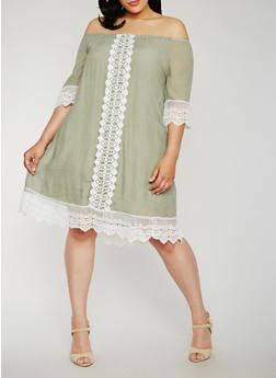 Plus Size Off the Shoulder Peasant Dress with Crochet Trim - 3390056124230