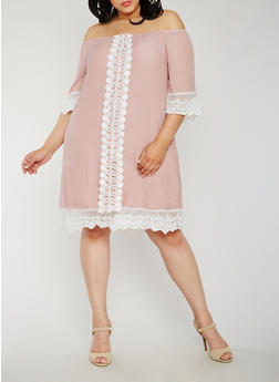 Plus Size Off the Shoulder Peasant Dress with Crochet Trim - D.MAUVE - 3390056124230