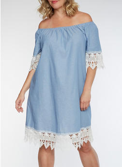 Plus Size Crochet Trim Peasant Dress - 3390056124287