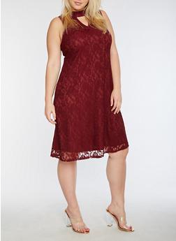Plus Size Sleeveless Lace Dress - 3390056124518