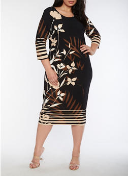 Plus Size Floral Crepe Knit Sheath Dress - 3390056124520