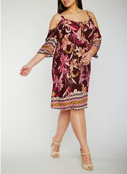 Plus Size Floral Print Cold Shoulder Dress - 3390056124551