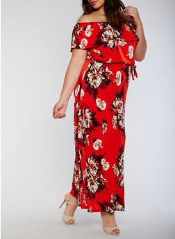 Plus Size Off the Shoulder Belted Floral Maxi Dress - 3390056124553