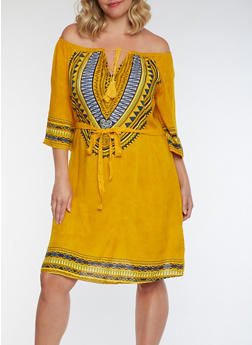 Plus Size Dashiki Print Dress - 3390056124556