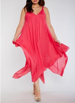 Plus Size Sleeveless V Neck Sharkbite Dress - 3390056125505