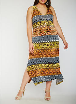 Plus Size Tribal Maxi Tank Dress with Necklace - 3390056125555