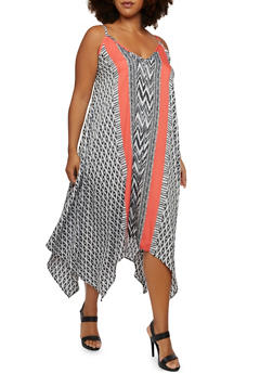 Plus Size Sleeveless Mixed Print Dress with Sharkbite Hem - CORAL - 3390056127220