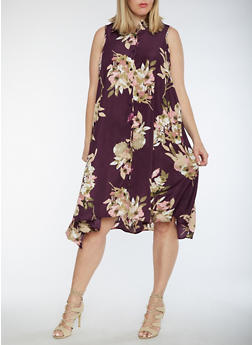 Plus Size Sleeveless Floral Shirt Dress - 3390056127504