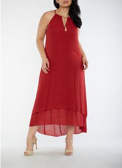 Plus Size Gauze Knit Keyhole Maxi Dress - 3390056127505