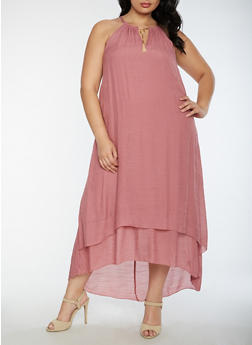 Plus Size Gauze Knit Keyhole Maxi Dress - 3390056127505