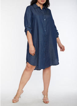 Plus Size Button Front Denim Dress - 3390056127506