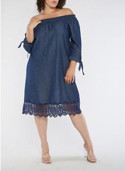 Plus Size Off the Shoulder Denim Dress with Crochet Detail - 3390056127514
