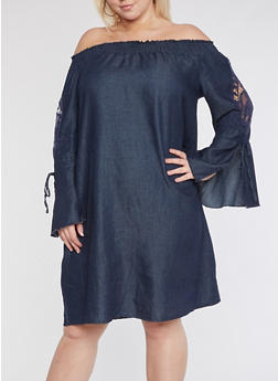 Plus Size Denim Off the Shoulder Dress - 3390056127523