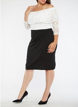 Plus Size Two Tone Off the Shoulder Sheath Dress - 3390056127566