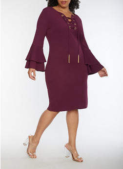 Plus Size Lace Up Bell Sleeve Midi Dress - 3390056127573