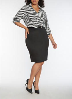 Plus Size Half Striped Faux Wrap Dress - 3390056127597