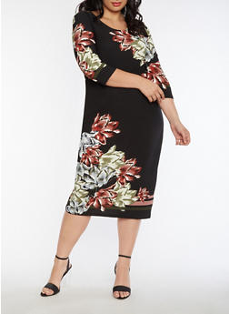 Plus Size Floral Border Print Dress - 3390056127601