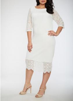 Plus Size Lace Trim Dress - IVORY - 3390056127605