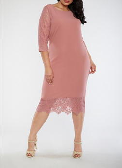Plus Size Lace Trim Dress - 3390056127605