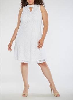Plus Size Sleeveless Lace Dress - 3390056127606