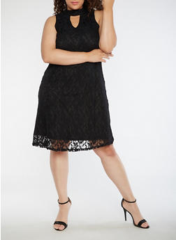 Plus Size Sleeveless Lace Dress - 3390056127607