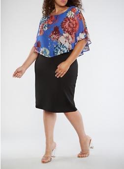 Plus Size Floral Overlay Midi Dress - 3390056127608