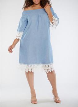 Plus Size Smocked Off the Shoulder Dress - 3390056127630