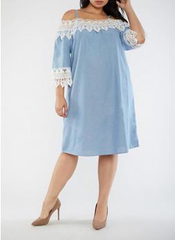 Plus Size Crochet Trim Off the Shoulder Dress - 3390056127631