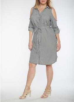 Plus Size Striped Cold Shoulder Shirt Dress - 3390056127632