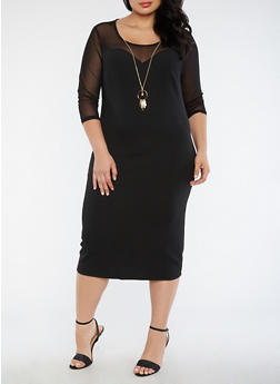 Plus Size Crepe Knit Mesh Dress with Necklace - 3390056127646