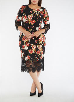 Plus Size Crochet Trim Floral Dress - 3390056127653