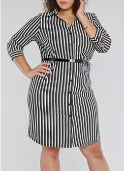 Plus Size Striped Shirt Dress with Belt - 3390056127668