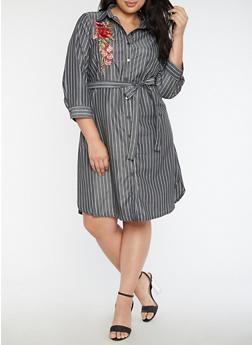 Plus Size Floral Applique Striped Shirt Dress - 3390056127704
