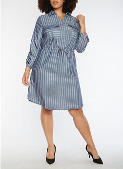 Plus Size Striped Button Front Cinched Waist Dress - 3390056127705