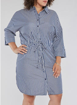 Plus Size Striped Cinched Waist Shirt Dress - 3390056127706