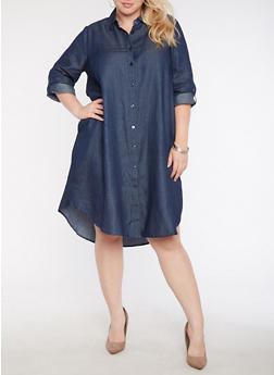 Plus Size Denim Button Front Shirt Dress - 3390056127708